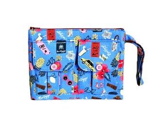 Wristlet Wallet, Wristlet Purse, Blue Wristlet, Large Wristlet, Phone Wristlet, Clutch Wristlet, Bon Voyage Wristlet, Fabric Wristlet