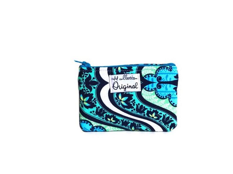 Floral Wallet Coin Purse Blue Zipper Coin Purse Small Wallets for Women