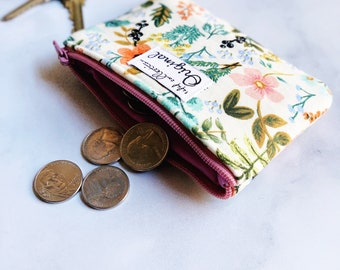 Small Wallet, Floral Coin Purse, Wallets for Women, Change Purse, Fabric Wallet