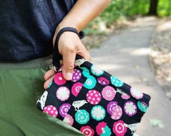 Black Wristlet Wallet, Small Wristlet Purse, Smartphone Wristlet