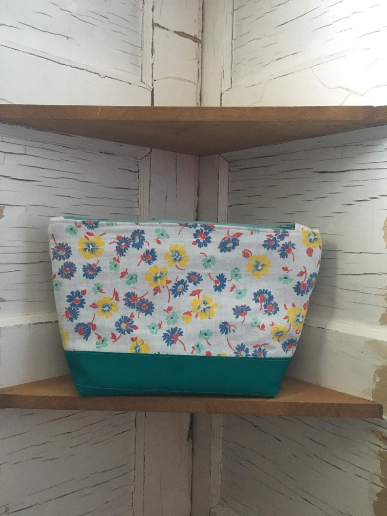 Vintage Floral Teal Accent Upcycled Zipper Clutch Purse  Lined Pouch #29-9 x 12 Recycled Fabric Patchwork