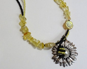 French Beaded Bumblebee Necklace With Citrine Nuggets