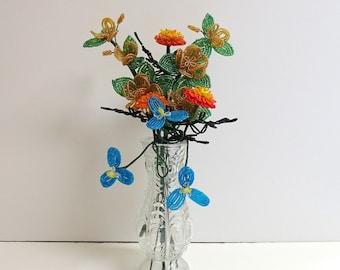 French Beaded Flower Arrangement-Roses, Marigolds, Japanese Narcissus