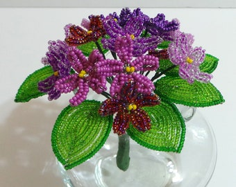 Beaded Flowers French Beaded Violet Nosegay