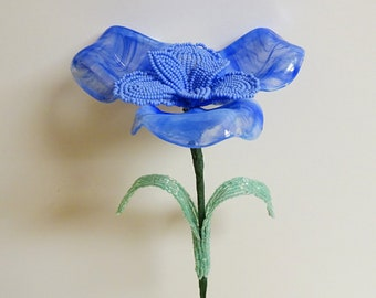 Vintage Italian Glass & French Beaded Fusion Flower-Blue Siberian Iris