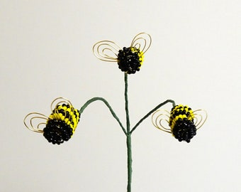 Bee Opaque Bumblebee Trio Plant Stick For Your Beaded or Artificial Flower Arrangement