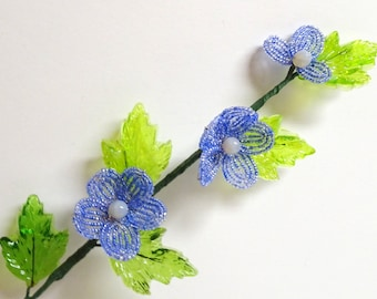 French Beaded Flower & Glass Fusion Stem