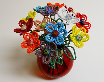 Beaded Flowers French Beaded Buttercups with Millefiori Centers