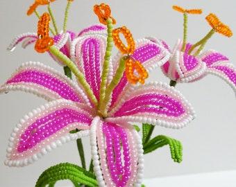 Beaded Flowers French Beaded Stargazer Lilies