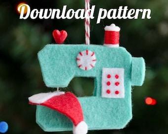 Ho Ho Sew! Felt Sewing Machine Ornament PDF PATTERN