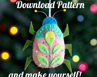 Beetle Bug Felt Ornament PDF PATTERN