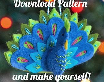 Peacock Felt Ornament PDF PATTERN