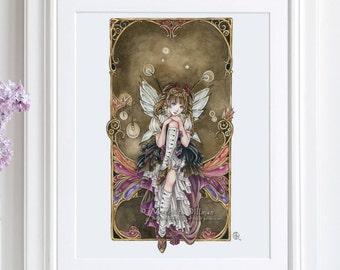 Steampunk art print, anime fairy art, art print poster, illustration, fantasy print, gothic lolita, Gears and Glass, 8x10