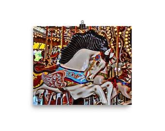 Seattle Carousel Horse Poster, Carousel Art Poster, Horse Art Print, Merry Go Round Horse Art, Carousel Horse Poster, Carousel Horse Print