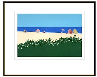 Cape Cod art print, Chatham Beach Massachusetts in the Cape Cod Museum of Art, vintage screen print