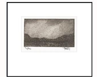 Sedona Arizona southwest landscape art print, silk etching, silk mezzotint, silk collagraph