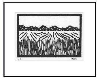 Black and white linocut block print, hand printed rural landscape