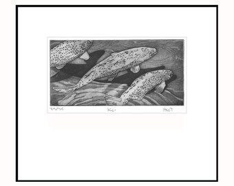 Koi fish etching print with aquatint and drypoint