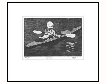 Kayak print, etching with aquatint and drypoint, hand printed