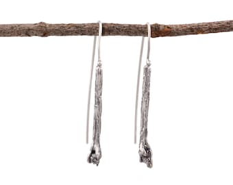Tree Bark and Meteorite Earrings in Sterling Silver - Ready to Ship Outerspace Astronomy theme  Nature Inspired  Space Junk  Recycled Metal
