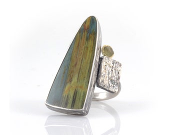 Earthy Statement Ring - Gary Green Jasper/Petrified Bog Wood, Rough Sapphire, Diamond and Tree Bark Texture Ring in Sterling Silver - size 6