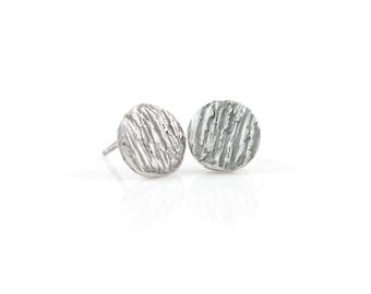 Tree Bark Post Earrings in Sterling Silver - Ready to Ship