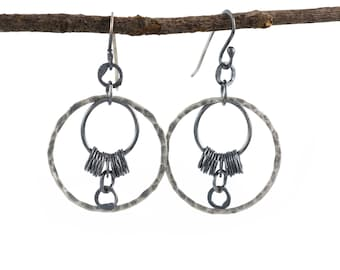 La Luna - Circle Earrings - Dark Sterling Silver - Gothic Style - Moon Inspired Jewelry - Nature inspired - Hammered Metal Earrings