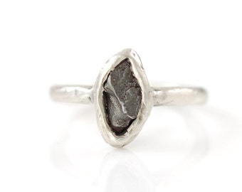 Single Meteorite Ring in Palladium Sterling Silver - Made to Order - Astronomy, Star Gazer, Science Lover