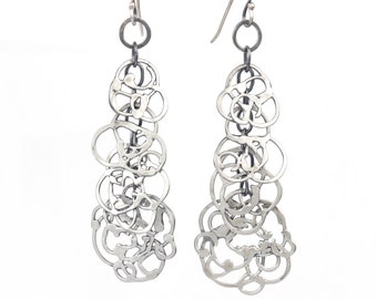 Organic Vine Chandelier Earrings - Handmade OOAK Argentium Sterling Silver Dangle Earrings - Nature Inspired Long Earrings - Unique Patina