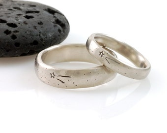 Wish Upon a Star Wedding Rings - Palladium/Silver Wedding Band Set - 4mm and 6mm - made to order wedding rings in recycled metal