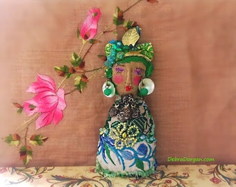 Little Lady Doll, Green Hair, Boho Lady, Handmade, Vintage Textiles, Folk Doll, Ornament, Art Doll. Bohemian, All Dressed Up