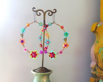Rainbow Flowers Hoop Earrings, Boho Earrings, Pretty, Hoop, Large Earrings, Bohemian Gypsy