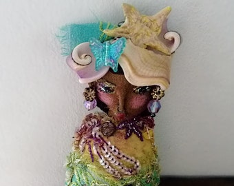 Little Lady Doll, Mermaid, Boho Lady, Handmade, Vintage Textiles, Black Lady, Folk Doll, Ornament, Art Doll. Bohemian, All Dressed Up