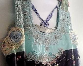 Blue Bejewelled Dress, Pretty Dress, Sparkly, Aqua, Embroidered, Fringed, Unusual, Exotic, Layering, Large