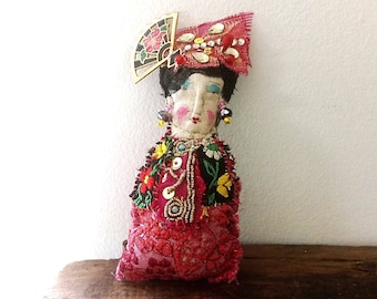 Little Lady Doll, Geisha, Boho Lady, Handmade, Vintage Textiles, Folk Doll, Ornament, Art Doll. Bohemian, All Dressed Up