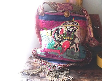 Camel Ride Bag, Recycled, Patchwork, Vintage Textiles, Beaded, Embroidery, Brocade, Silk, Boho Bag, Shoulder Bag