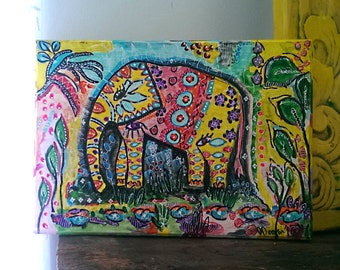 Bohemian Elephant 2, Original Painting, Small, Boho Painting, Wall Art, Home Decor, Colourful 12 inches x 8.5 inches