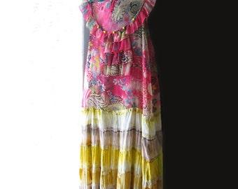 Pink Banana Dress, Recycled, Upcycled, Beaded, Boho Dress, Sun Dress, Long Dress, Tie-Dyed, Pretty