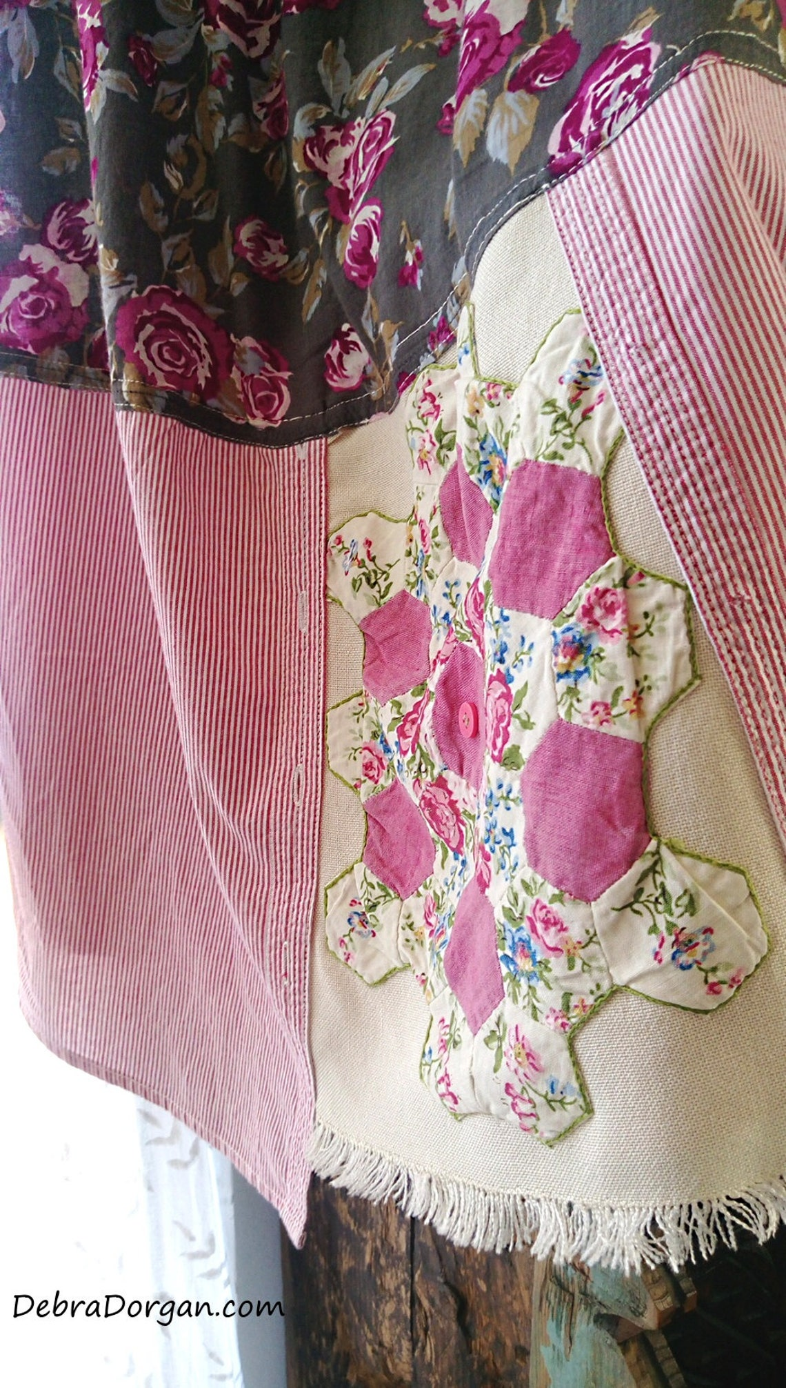 Roses Patchwork Dress Upcycled Pink Grey Pinstripes