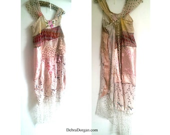 Delicate Roma Swamp Dress, Tattered, Botanical, Hummingbird, Silk, Cotton, Vintage Lace, Soft Pink, Lacy, Boho, Small to Large