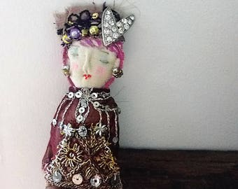Little Lady Doll, Lilac Hair, Boho Lady, Handmade, Vintage Textiles, Folk Doll, Ornament, Art Doll. Bohemian, All Dressed Up