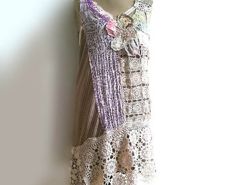 Pinstripes & Lace Dress, Large Flower, Pretty Dress, Asymmetrical, Boho Dress, Rustic, Romantic Clothing