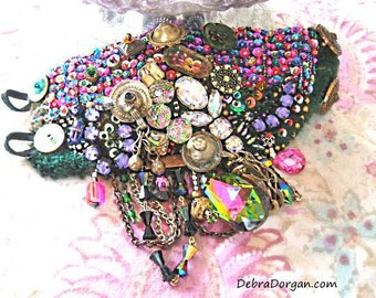 Gypsy Jangle Bracelet, Sparkle, Green, Pink, Blue, Antique Velvet, Bohemian, Boho Jewellery, Allthingspretty