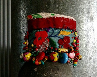 Wanderer Bracelet, Beaded, Vintage Embroidery, Colourful, Tattered, Recycled Leather, Flowers, Cuff Bracelet, Handpainted