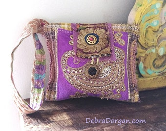 Purse, Wristlet, Woven Antique Fabric, Embroidery, Brocade, Lilac, Gold, Boho Purse, Vintage Textiles, Clutch