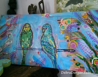 Budgies, Original Painting, Budgerigars, Joy, Birdies, Little Parrots, Tropical, Art, Cheery,  Wall Art, Home Decor
