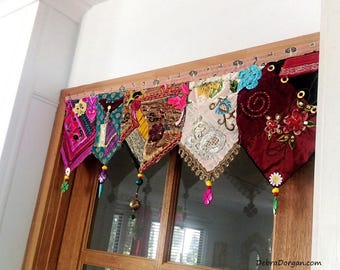 Pelmet, Door or Window, Wall Decor, Toran, Vintage Textiles, Beaded, Embroidery, Gypsy, AllThingsPretty, Bohemain, Boho Decor