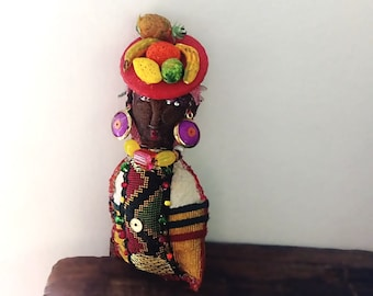 Little Lady Doll, Carmen Miranda, Boho Lady, Handmade, Vintage Textiles, Folk Doll, Ornament, Art Doll. Bohemian, All Dressed Up