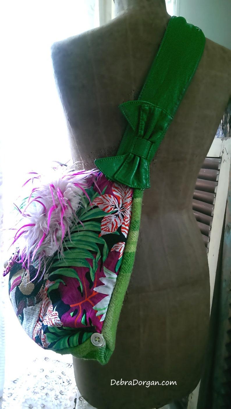 Tropical Large Bag Beaded Jungle Wild Cactus Toucan Bag Boho Bag Furry Bohemian Shell Colourful
