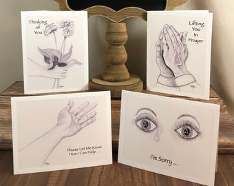 Caring Collection 4 Hand-Sketched Blank Notecards w Envelopes